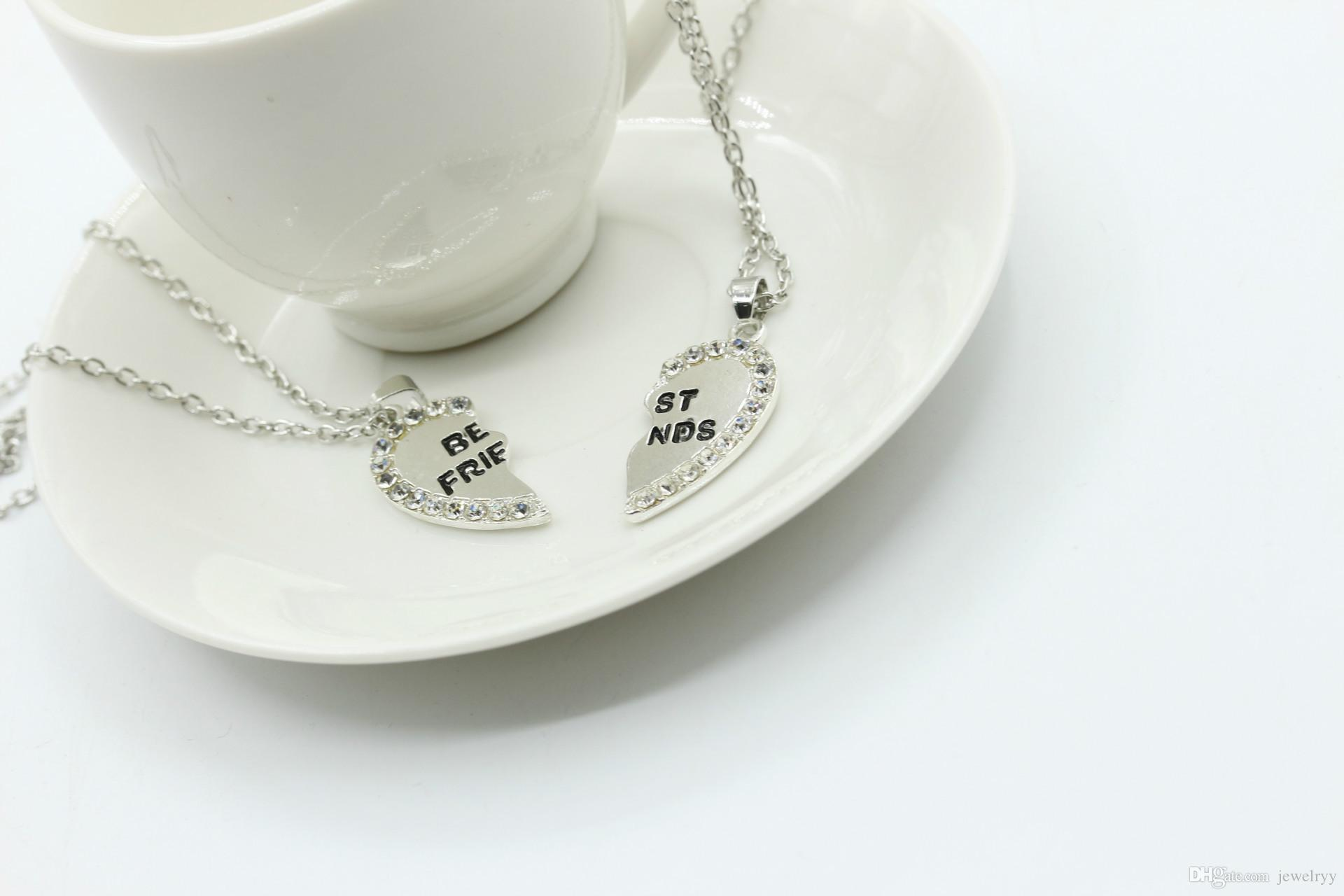 Man Women jewelry Crystal Best Friends Necklace Rhinestone Broken Heart Pendant Necklaces Friendship Chain Necklace for Lover Gifts