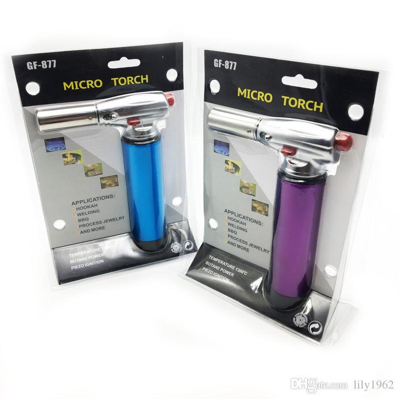 Super Fire Black Metal Windproof Jet Butane gas Refillable Cigarette Flame Torch Lighter for BBQ, Welding, Hookah