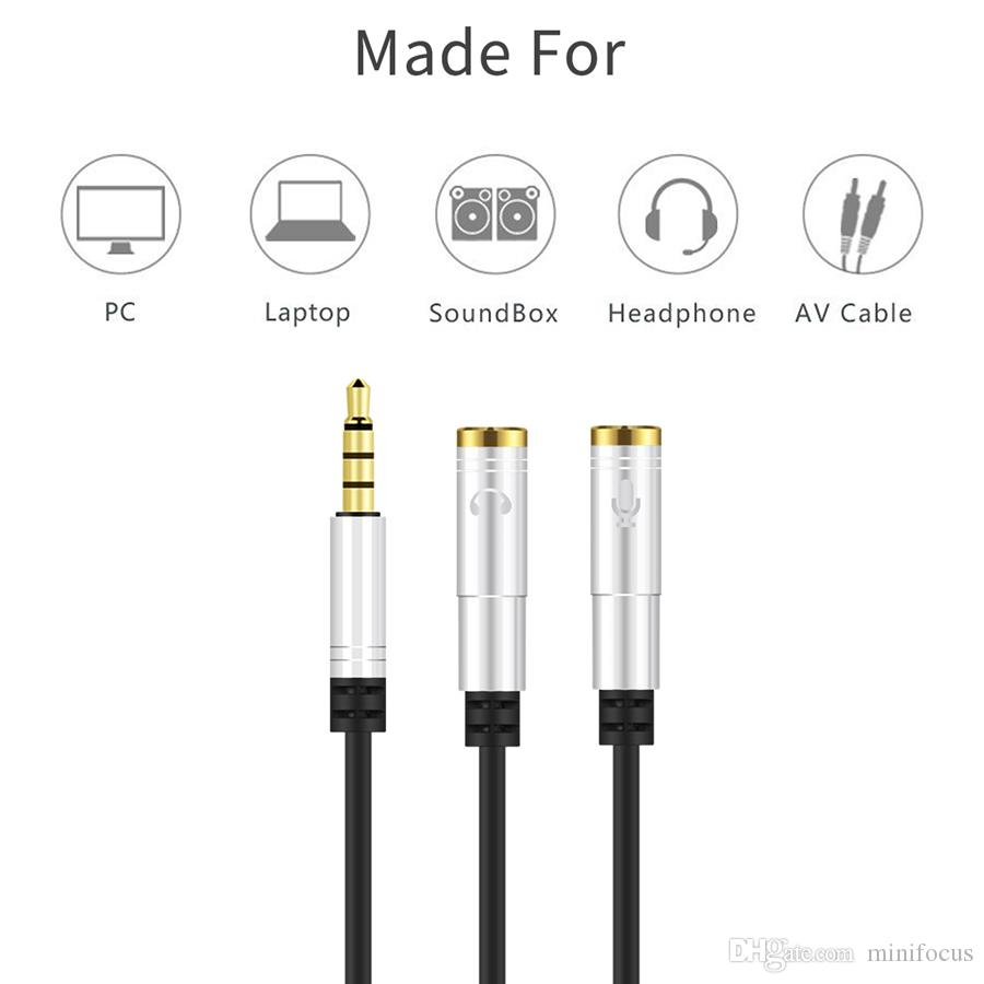 Quality Headset Adapter Y Splitter 3.5mm Jack Cable with Separate Mic and Audio Headphone Connector Mutual Convertors 3.5mm male to 2 female