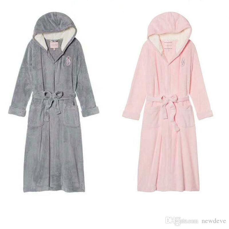 Indumenti da notte sexy da donna rosa VS Emboridery Plus Size Softy Accessori da sposa caldi Loungewear lungo a i con felpa con cappuccio