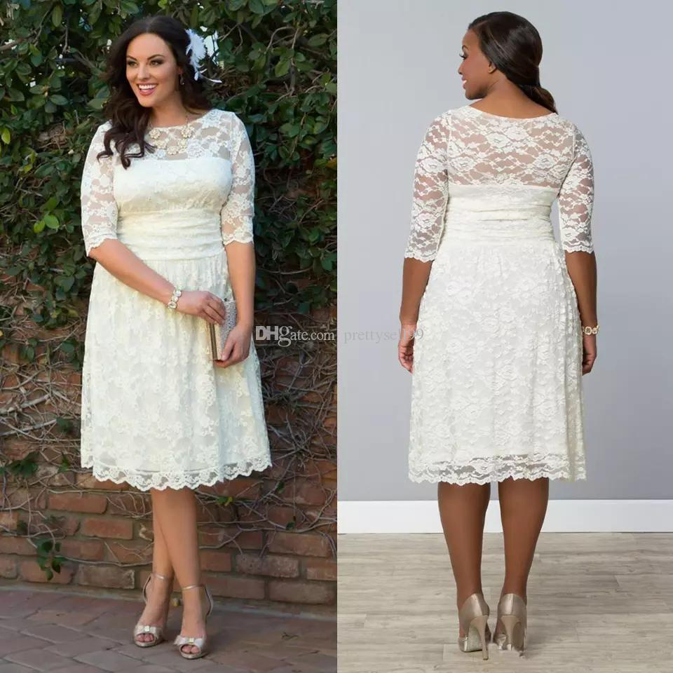 Discount 2017 Full Lace Short Country Wedding Dresses Plus Size Knee ...
