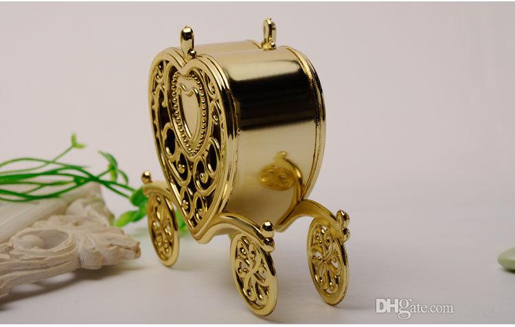 Carriage Wedding Candy Box Chocolate Box Gold and Silver Box for Wedding Baby Birthday Party wen4260