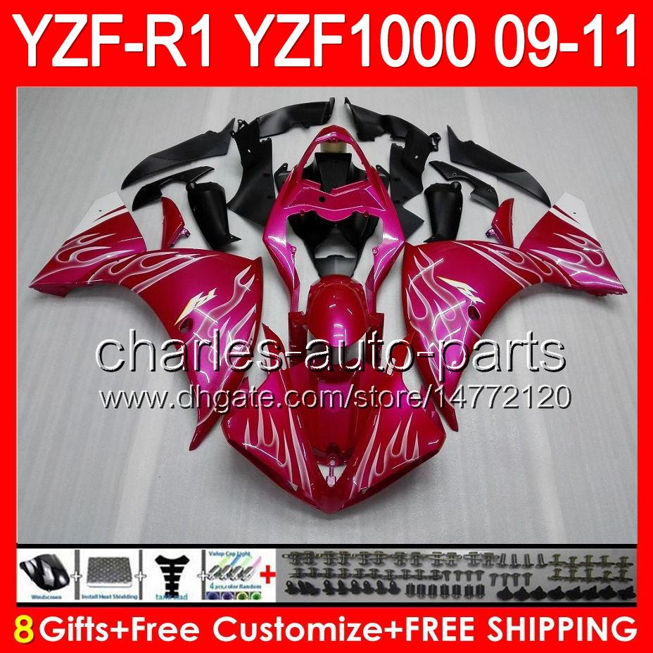 8gifts Body For YAMAHA YZFR1 09 10 11 YZF-R1 09-11 white flames 95NO8 YZF 1000 YZF R 1 YZF1000 YZF R1 2009 2010 2011 TOP glossy pink Fairing