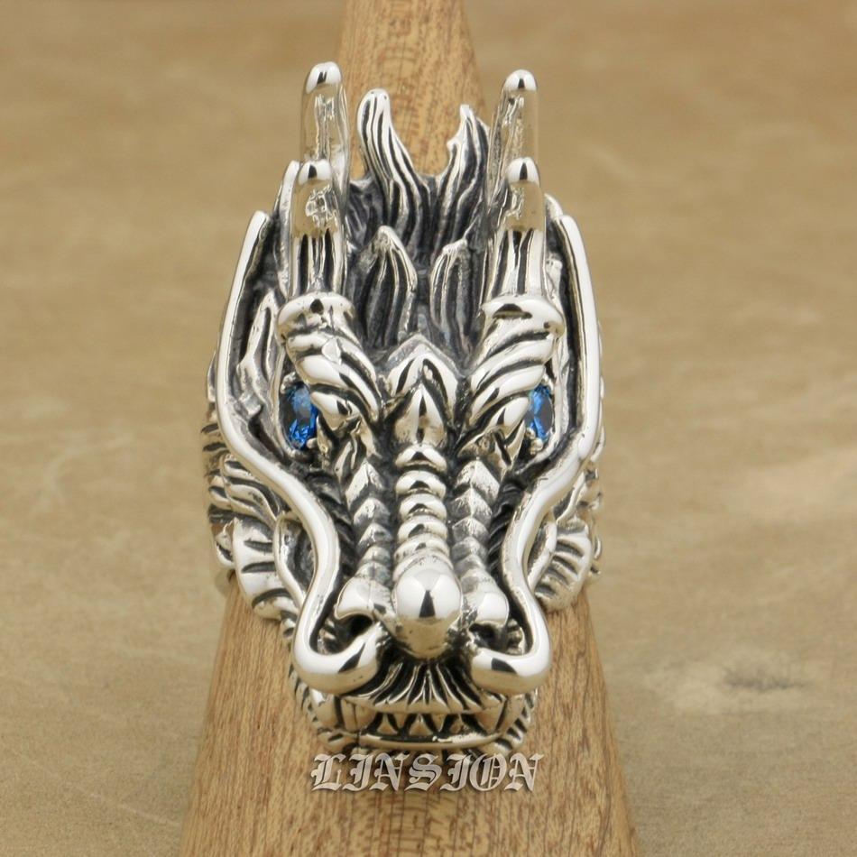 LINSION Huge Heavy 925 Sterling Silver Dragon Ring Blue CZ Eyes Mens Biker Rocker Punk Ring 9D110 US Size 7 to 15