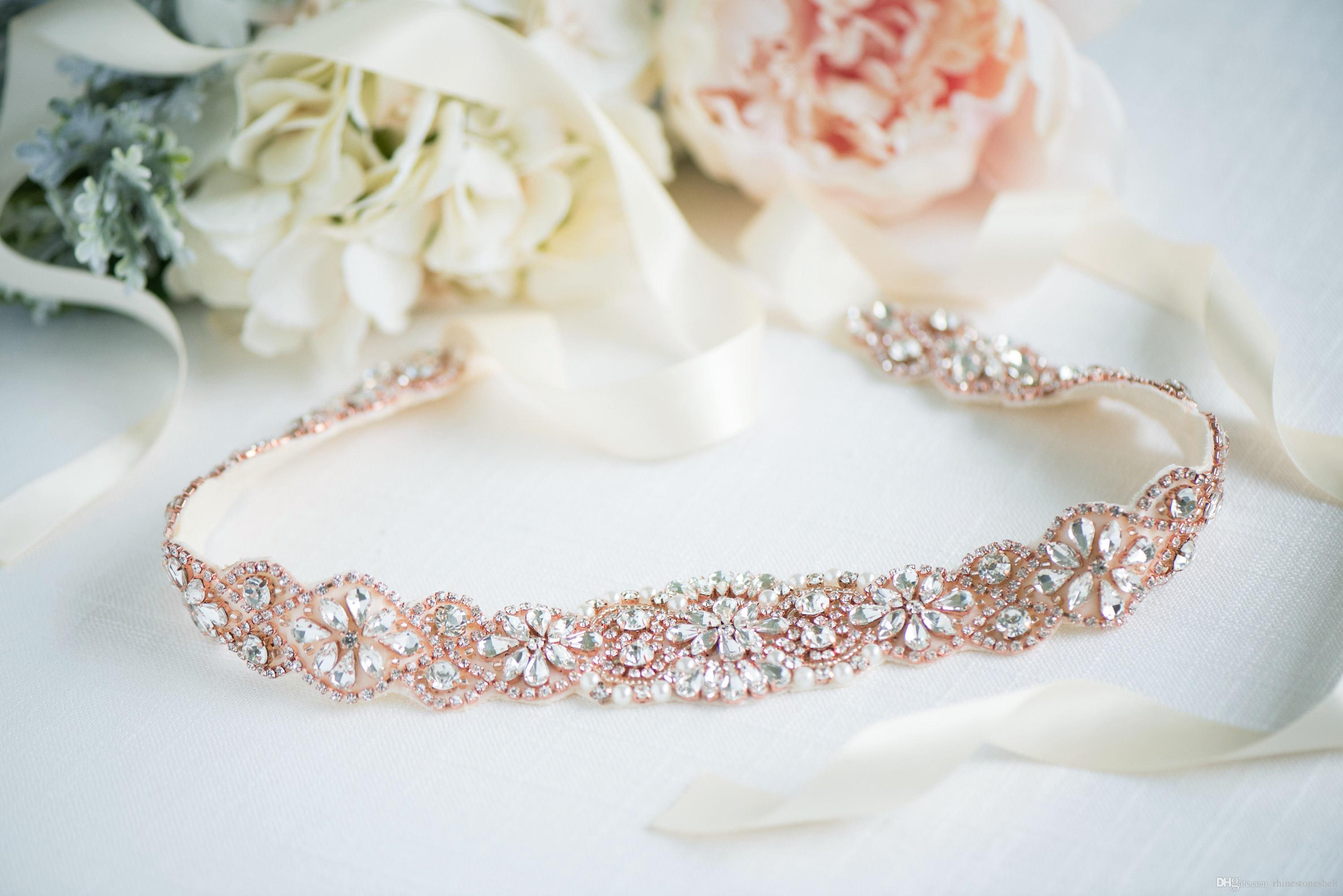 Wedding Belt Clear Crystal Rose Gold 57cm Length Rhinestones Appliques Sewing on Bridal Sashes Wedding Dresses Sashes Bridal Accessories T44