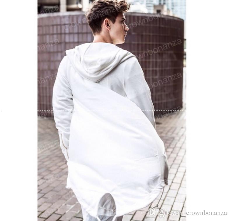 Hoodies Para Homens Urbano Com Capuz Casaco de Hip Hop Branco / Preto Casaco dos homens Estendido Capa Hoodie Dos Homens Casaco Com Capuz Hoodies
