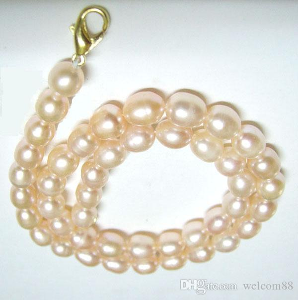 10st / mycket rosa ris sötvatten pärl pärlhalsband hummer lås 16inch för diy hantverk smycken gåva p2