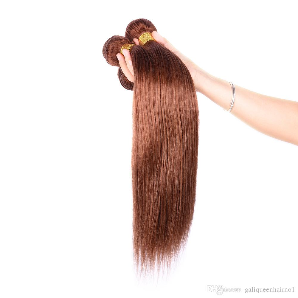 브라질 스트레이트 인간의 머리카락 직조 처리되지 않은 레미 헤어 익스텐션 라이트 브라운 4 # color 100g / pc 염색 될 수 없음 흘림 얽힘 무료