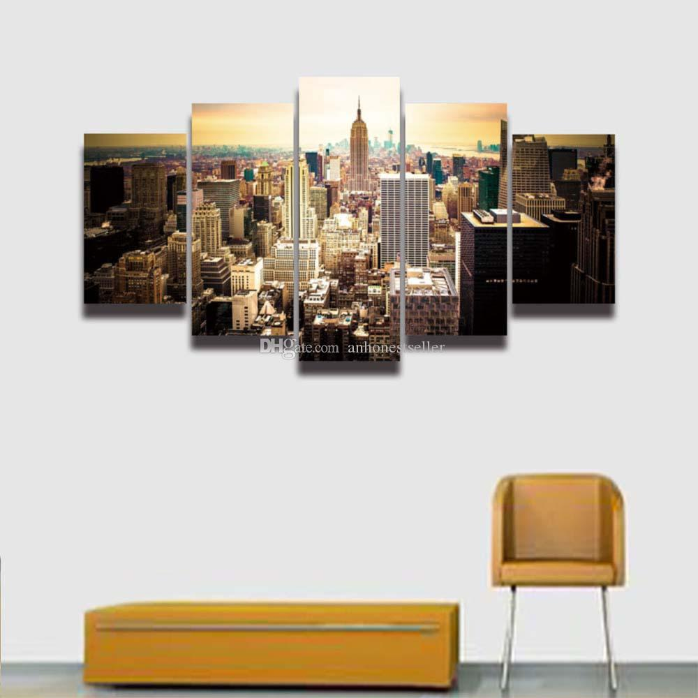 2019 Printed New York City Building Landscape Canvas Painting For Wall Art Home Decor Living Room HD Prints Artwork Panel From Anhonestseller