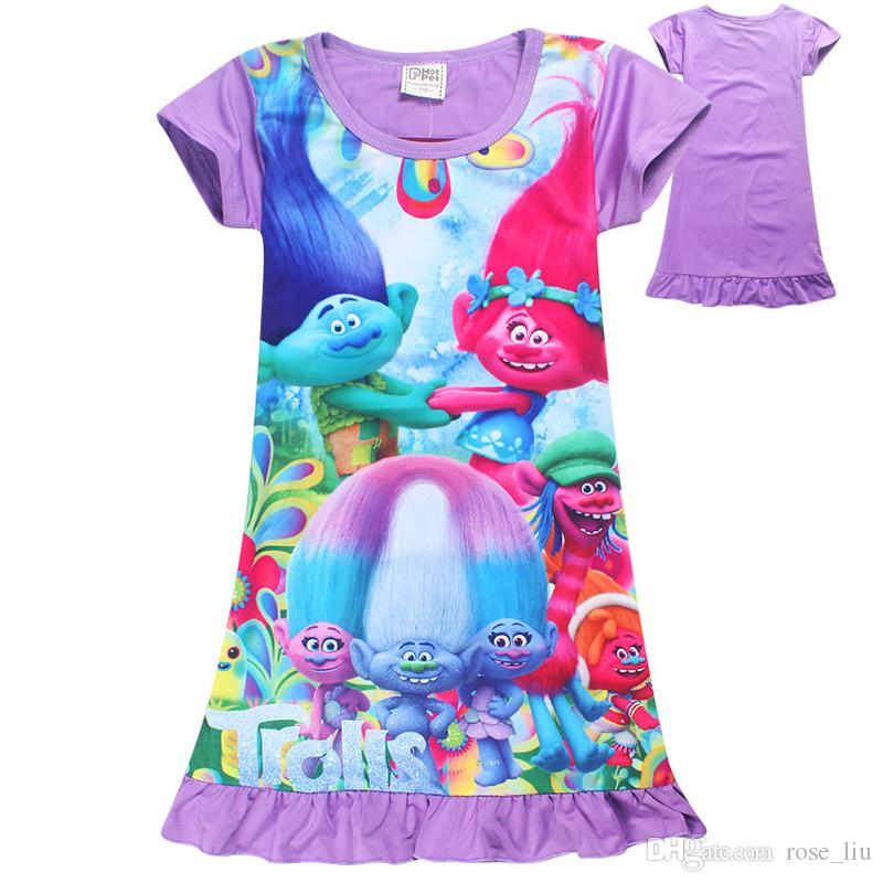 trolls dress 2017 Summer Baby Girl Dress Ice Silk Cartoon Trolls Kids Pajamas Hem Extra Comfy Girls Clothes Children Cloth XT