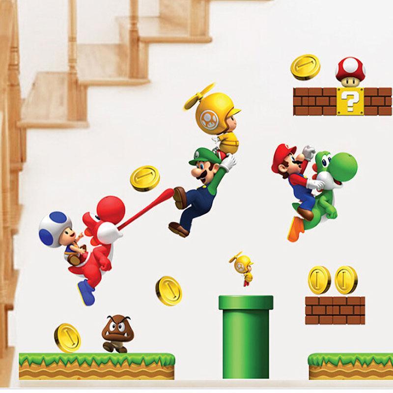 Adesivi Murali Super Mario.Autoadesivi All Ingrosso Del Fumetto Adesivi Murali Super Mario Per Le Stanze Dei Bambini Adesivi Murali Bambini Camera Da Letto Home Decor
