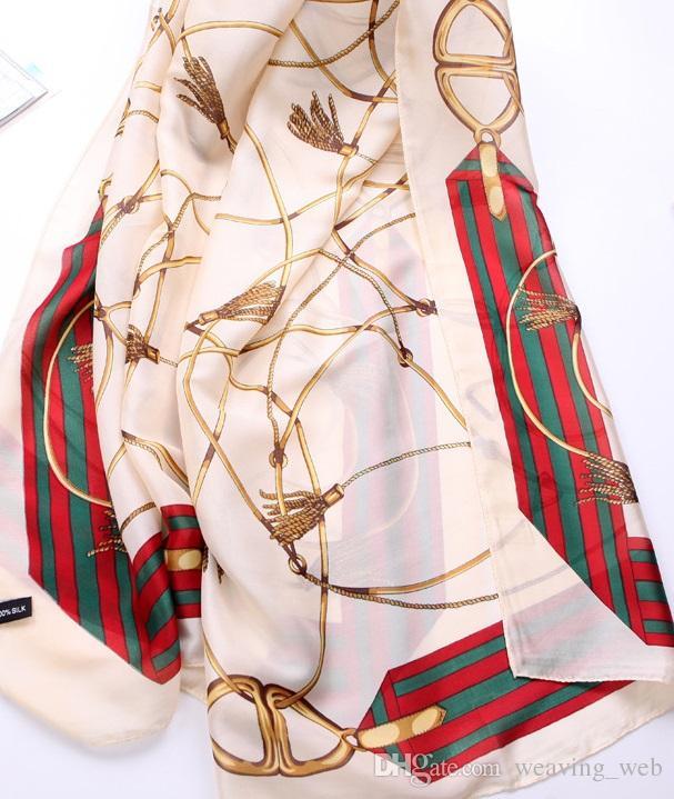 2017 Nuevo 90x180 cm estilo de impresión de cadena de manta de playa patrón de viaje de verano toalla de playa de seda-como manta de tiro