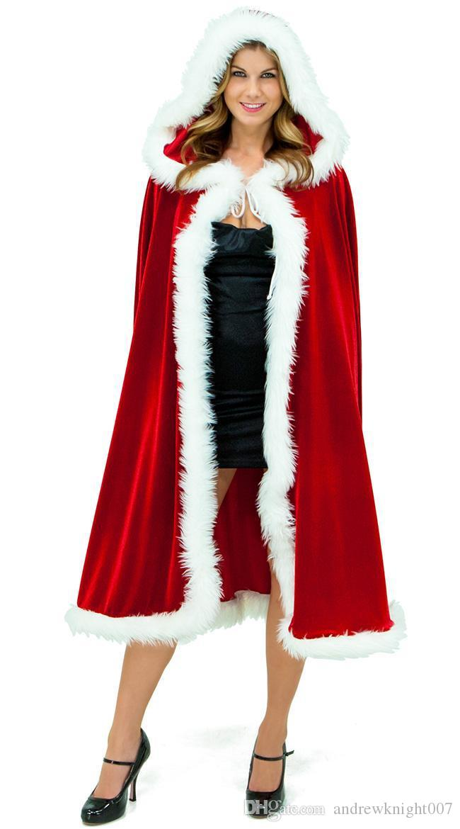Christmas Cosplay Sexy Karneval Clothes Women Dress Cosplay Costumes For Adults Santa Claus Cloak Hooded Costumes Velvet Blend Cape DK0526BK
