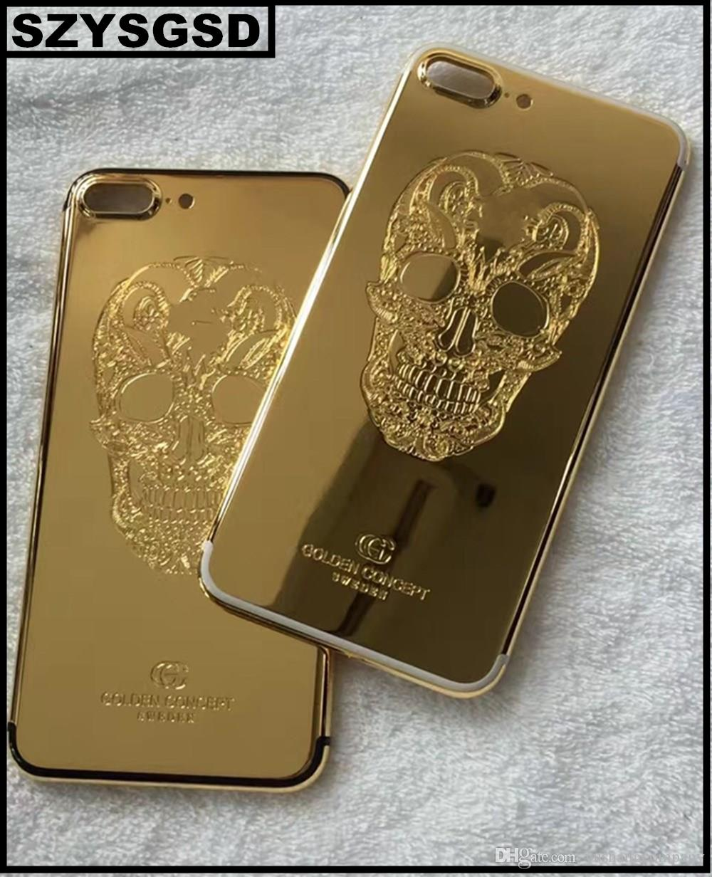 Real Gold Skull Plating Back Housing Cover Skin Battery Door For Iphone 7 Plus High Quality 24k Cell Phone Repair Online