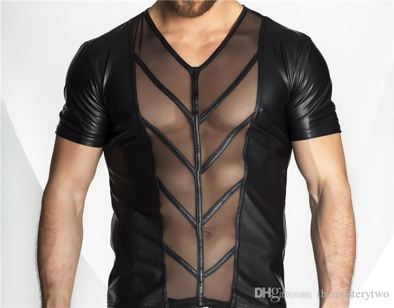 Hot Sexy Lingerie Plus Size Männer Exotic Tanks Catsuit Latex PU Nachtwäsche Sexy Mens Durchschauen Top Tanks Shirts Exotischer Mann