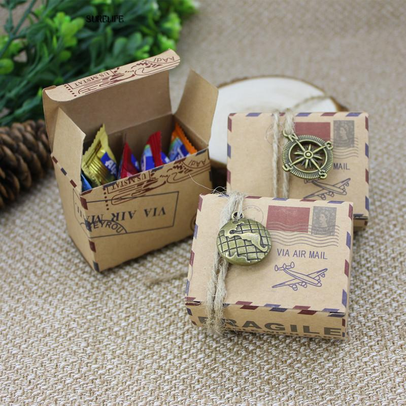 Vintage Wedding Gifts: Kraft DIY Vintage Travel Candy Box With Globe And Compass