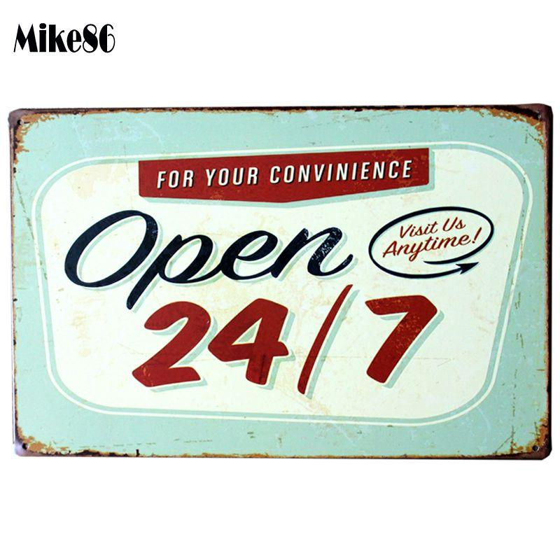 2019 Wholesale Mike86 Open 24 7 Bar Metal Signs Pub Wall Art