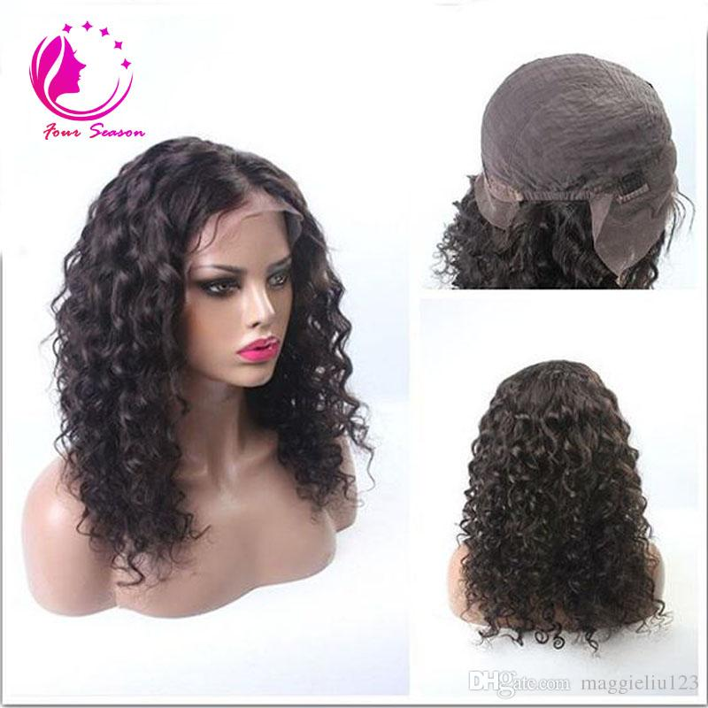 Virgin Afro Kinky Curly Wig Glueless Full Lace Human Hair Wigs For Black Women Malaysian 8A 130% Short Bob Lace Front Human Hair Wigs
