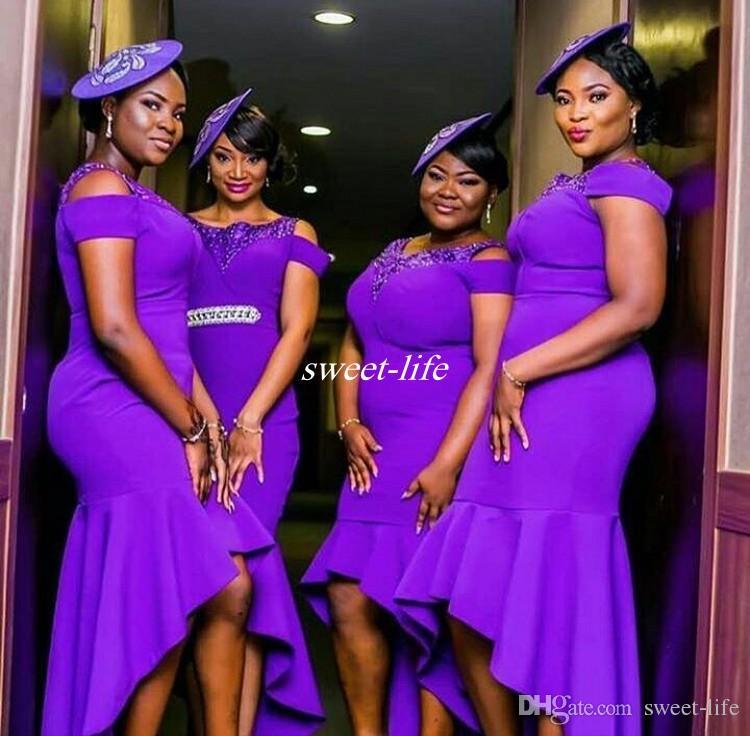 Modern Roxo Plus Size Vestidos de Dama de Honra Alta Baixa Lantejoulas Pescoço SEM LAVAGEM 2017 Barato Africano Convidado Do Casamento Vestidos Vestidos para A Dama de Honra
