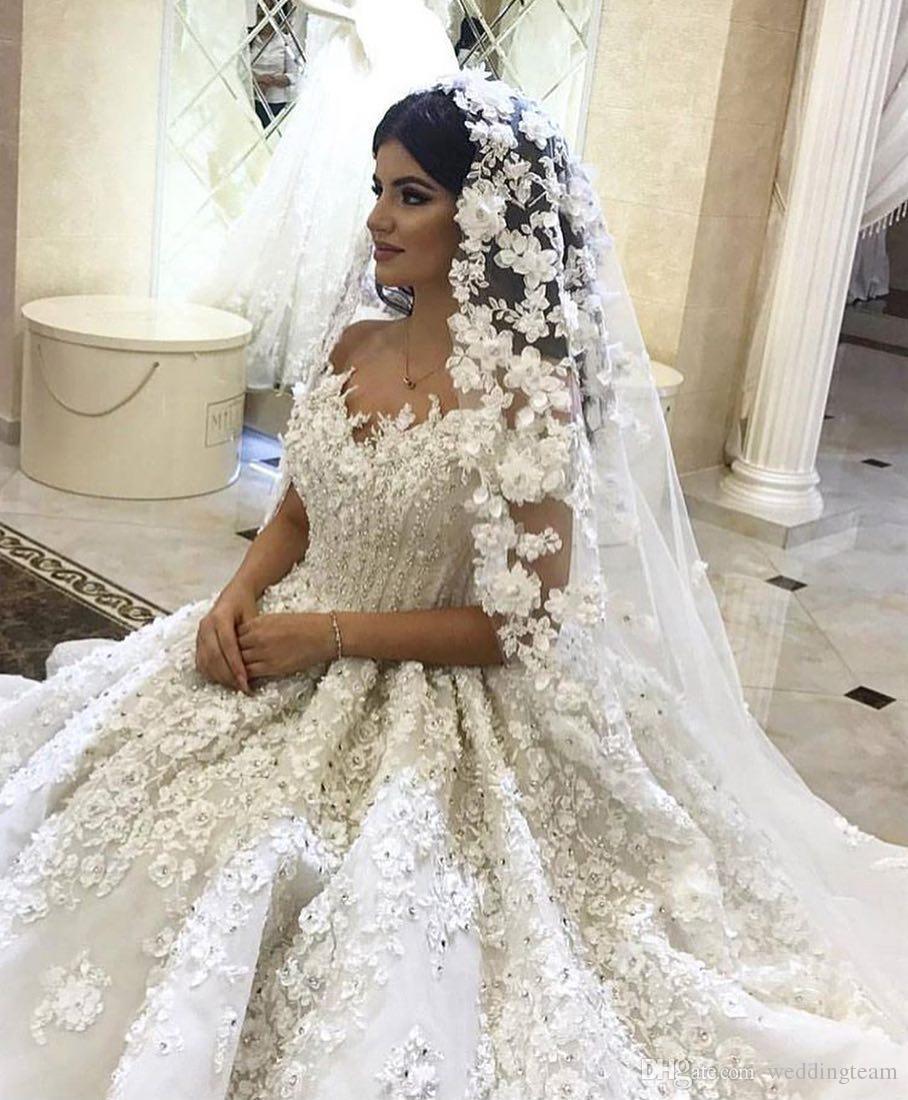 Урожай 3D Кружева Аппликация Бальное платье Свадебные платья Кристаллы V-образным Вырезом Плюс Размер Пышное Свадебное Платье Из Бисера Стразы Часовня Свадебные Платья
