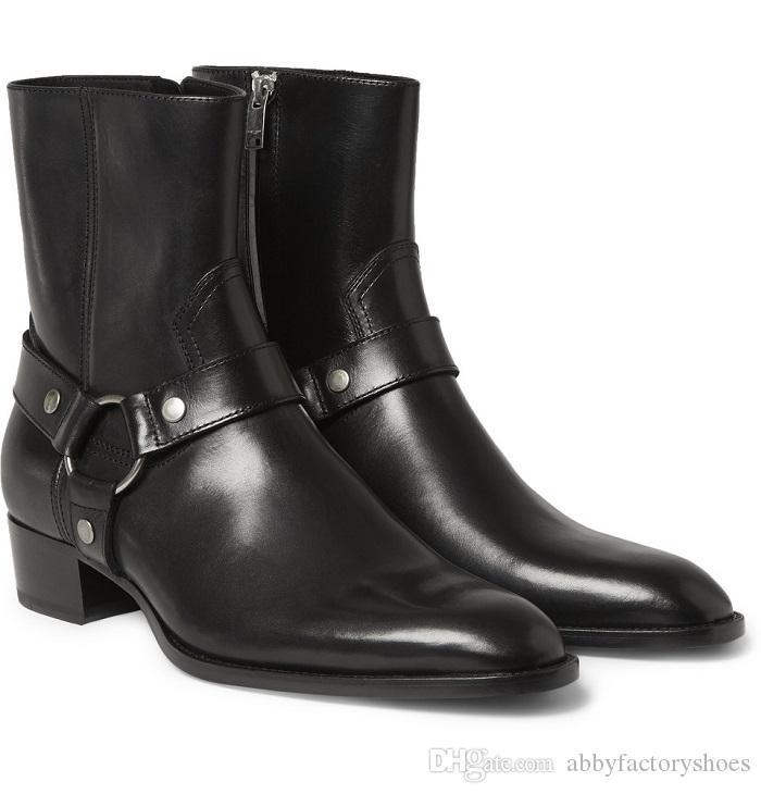 남자 패션 슬랩 클래식 와이어트 40 하네스 부츠 카멜 스웨이드 남성 신발 마틴 부츠 발목 카우보이 오토바이 부츠 야외 남자 신발 size45