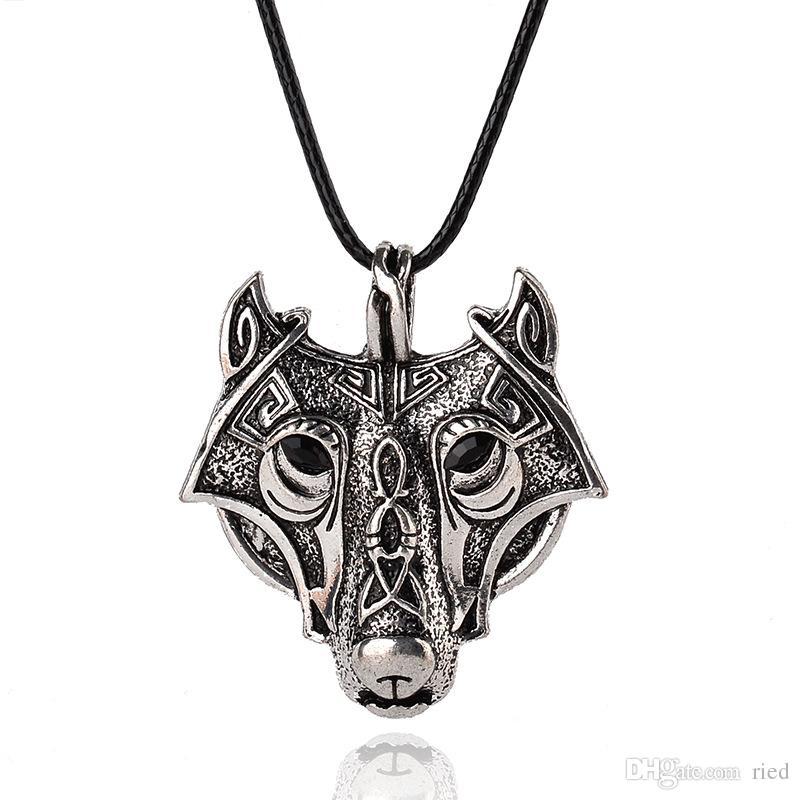 Collana in argento con pendente lupo color punk antico Game Of Thrones Collana in pelle con distintivo stark uomini cool gioielli vichinghi