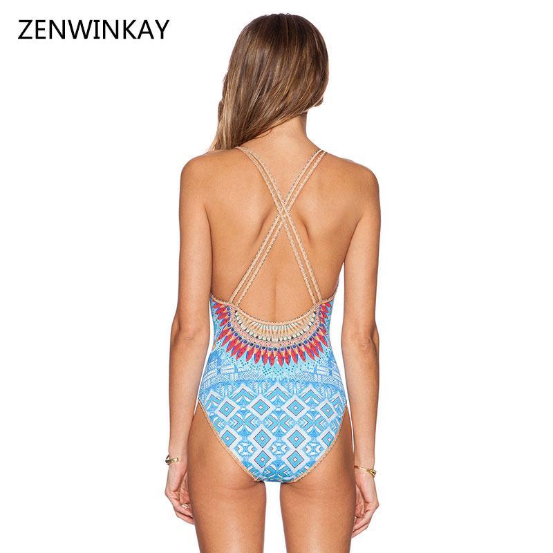 2017 Summer Beach Ethnic Bathing Suit Womans One Piece Swim Wear Women Blue One Piece Swimsuit Sexy Monokini Swimwear S M L XL