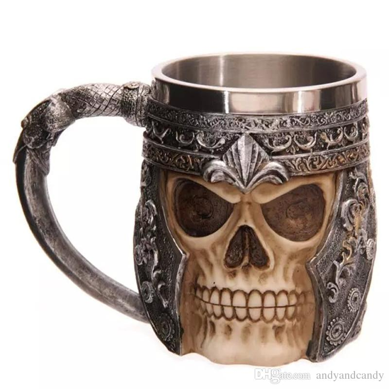 Stainless Steel Liner Drinking Skull Mug Personalized Double Wall Resin 3D Striking Skull Warrior Tankard Viking Beer Mugs For Bar Party