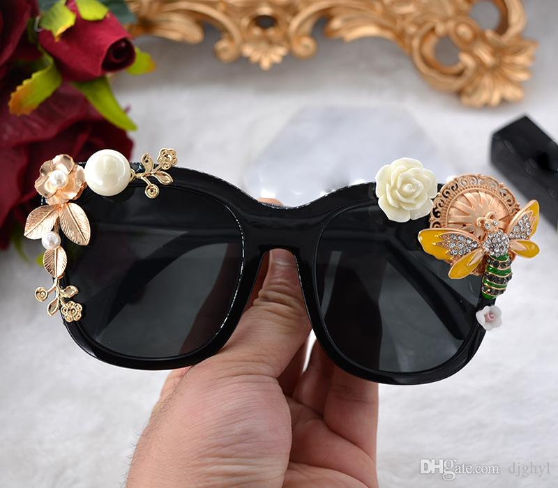 High Quality Full Frame Sunglasses For Women Fashion Sunglasses Outdoor Wrap Eyeglasses Pearl Flower Sun Glasses Summer Beach Sunglasses