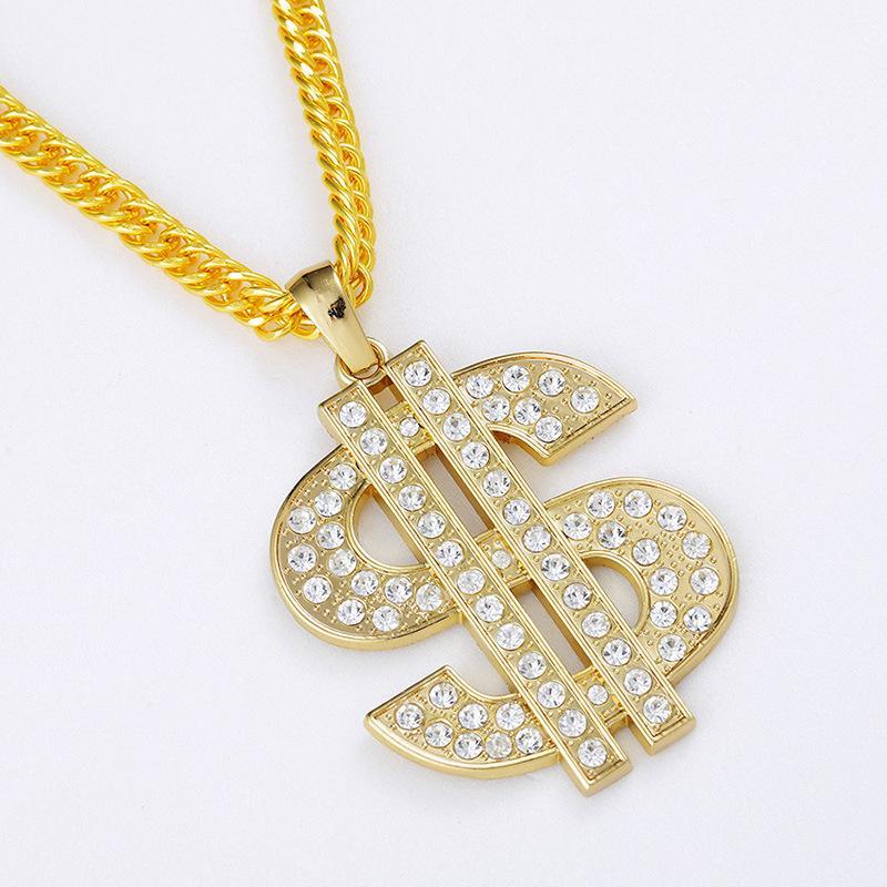 Men Hip Hop Gold Plate US Dollar Pendant Collier Femme Necklace ...