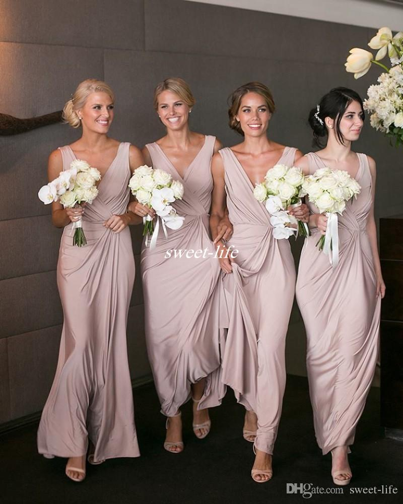 Beach Wedding Gowns Pinterest: Modern Blush Pink Bridesmaid Dresses Sheath V Neck Pleated