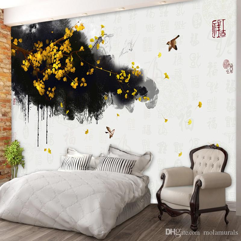 Custom photo Wall Mural Wallpaper Non-woven Mural Wall Hand Painted Chinese Gold Ginkgo Blessing TV Background Fresco Wallpaper