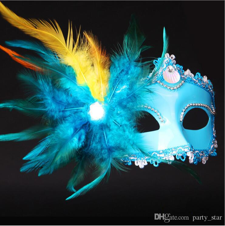 Women Plating Cloth Surrounding Edge Party Masks Halloween Party Side Feather Masquerade Masks Venice Half Face Carnival Masks