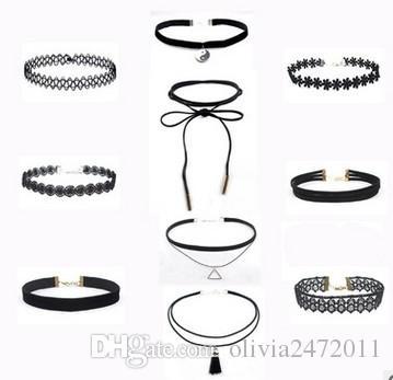 Corda de corda de renda de couro PU flor choker colar para mulheres gargantilhas collares colarinho chocker colares lx