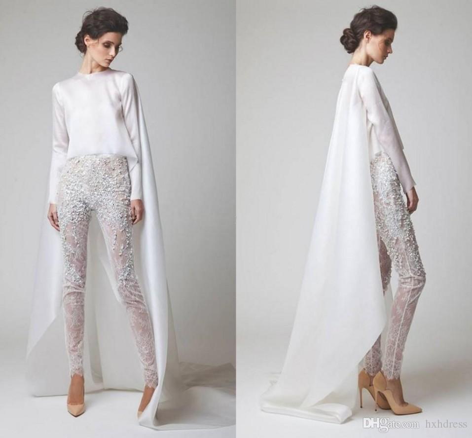 2020 New White Abiti da sera in chiffon a due pezzi della perla del merletto Pantaloni See Through maniche lunghe Elio Abou Fayssal degli abiti di sera con il rivestimento 1