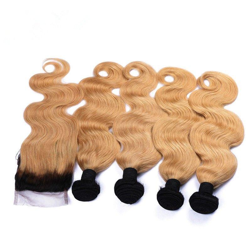 Brezilyalı Ombre İnsan Saç Kapatma Ile 4Bundles # 1B / 27 Bal Sarışın Ombre Vücut Dalga 4x4 Dantel Kapatma Ile Atkı Açık Kahverengi Ombre Örgüleri