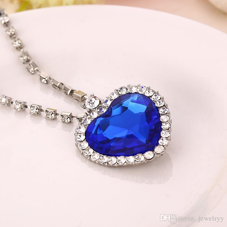 The Heart of Ocean Crystal Pendant Necklaces Love Heart Rhinestone Chain Necklace Jewelry for Women Girls prom Party