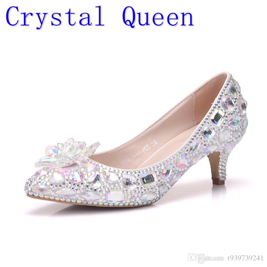 Crystal Queen 5cm Thick Heel Crystal Women Shoes Pumps 5cm ... 64a0b49c0277