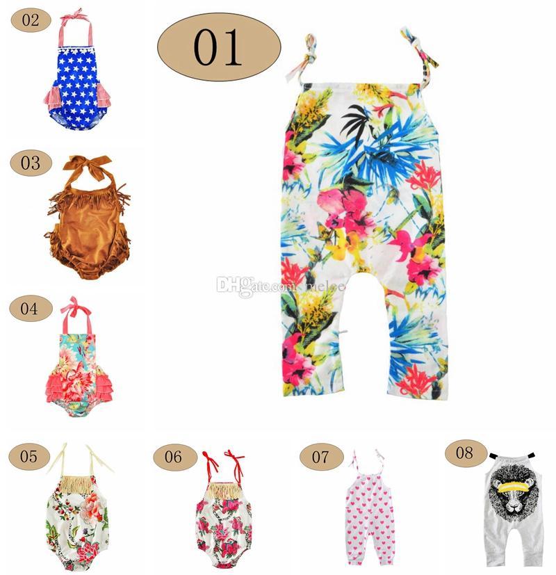 44d49a9bf244 Baby Girls Halter Floral Summer Flower Romper Outfit Infant Tassel ...