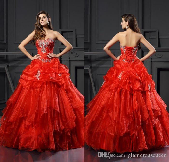 85832cb0b5c Charming Sparkle Ball Gown Sweetheart Red Ruched Ruffles Organza  Quinceanera Dresses With Beaded Lace Up Sweet 16 Girls  Prom Dresses