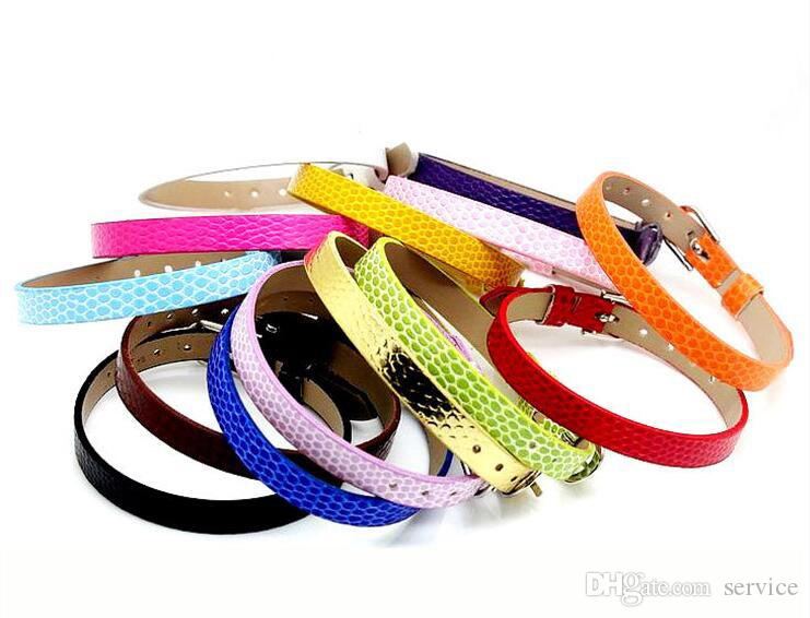 Multicolored Paillette Snakeskin PU Leather Bracelet Wristband Fits DIY Capital Letters 8mm Slide Charm Bracelet Hand Belt