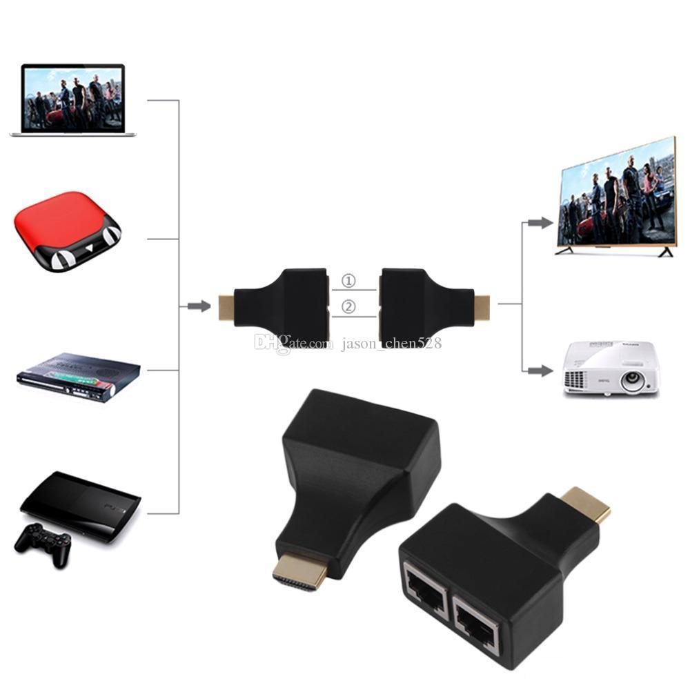 HDMI Çift RJ45 Gönderen Alıcı Adaptörü HDMI Genişletici tarafından CAT 5e KEDI 6 Kablo 30 M Video Ses Balun Tekrarlayıcı TV Alıcısı