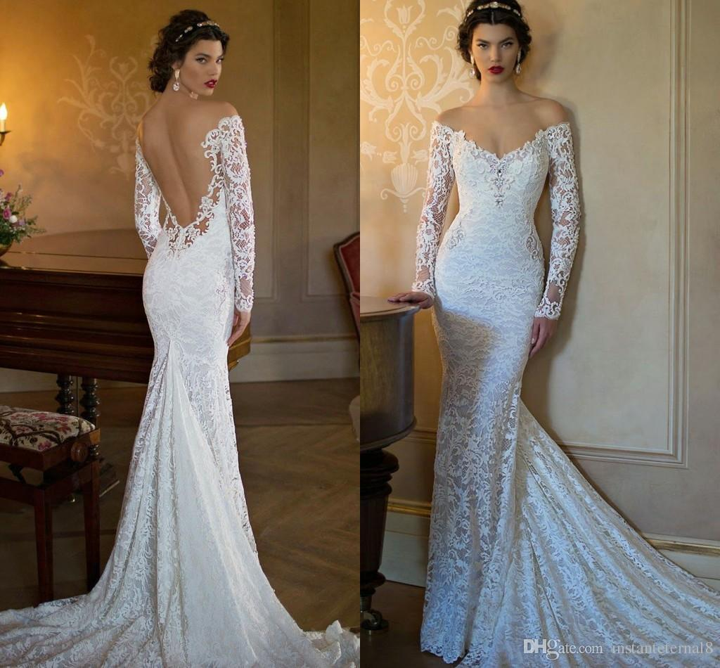 Romantic Lace Mermaid Wedding Dress Off Shoulder Back Open Back ...