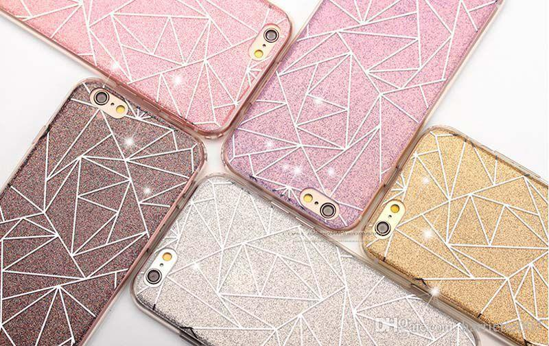 Bling Silicone Glitter ShockProof Geometric Case Cover For Apple iPhone 5 5S 6 6S 7 Plus Free DHL Shipping