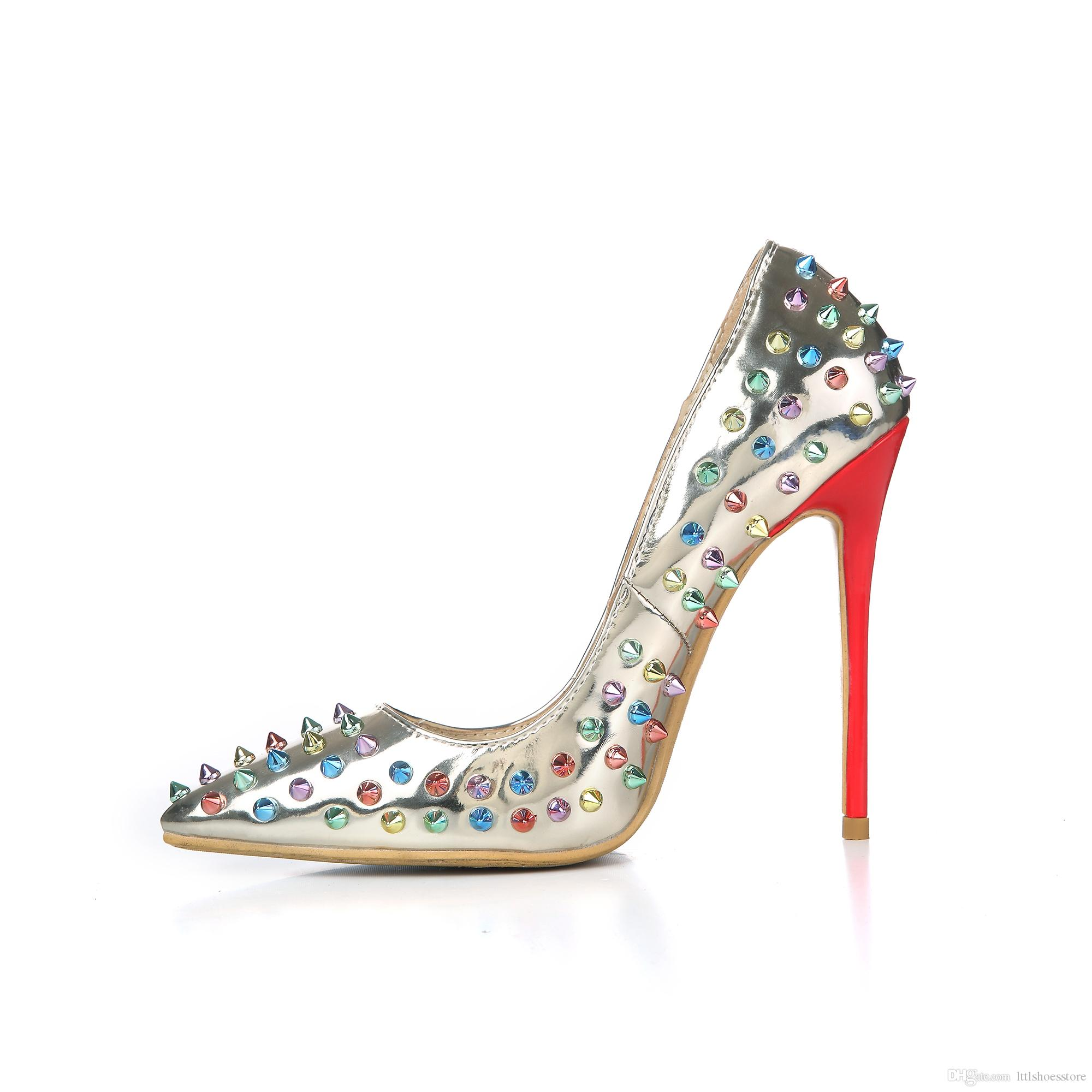 LTTL Brand Shoes Fashionable Spiked Pumps Stiletto Point Toes High Heeled Shoes For Women Sexy Party Shoes Zapatos Tacones Sapatos Femininos