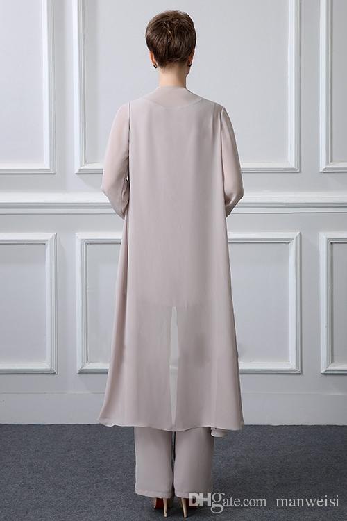 Einfache elegante Mutter der Braut Hose Anzüge mit Jacke Chiffon Strand Hochzeitsgast Bräutigam Kleid billige Mütter Outfit langes Kleidungsstück