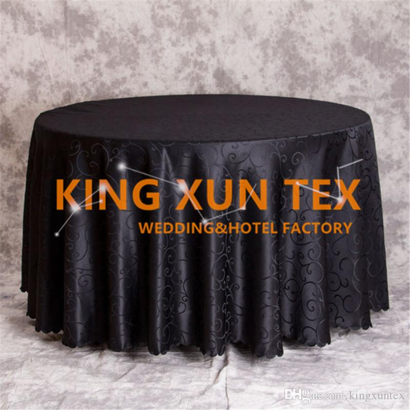 Hot Sale Round Jacquard Damask Table Cloth Cheap Tablecloth For Wedding And Event Decoation