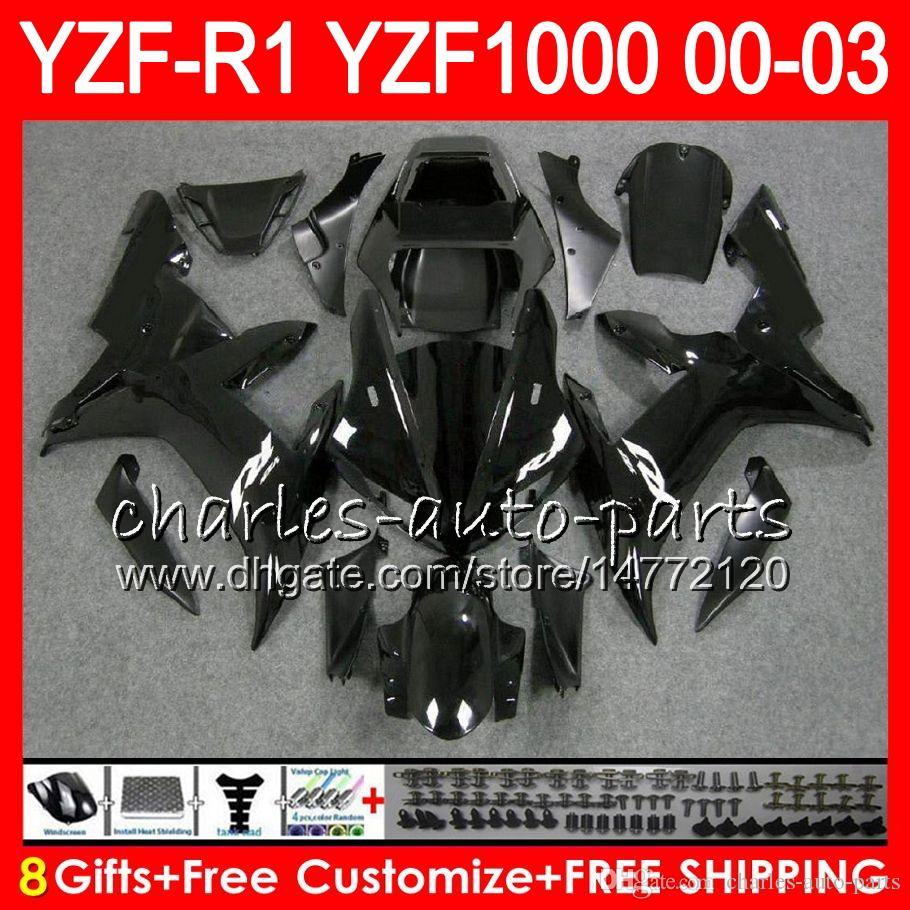 8Gift 23Corpo Cor Para YAMAHA YZF R1 YZF 1000 YZFR1 02 03 00 01 62HM20 YZF1000 R 1 YZF-R1000 preto brilho YZF-R1 2002 2003 2000 2001 Carenagem