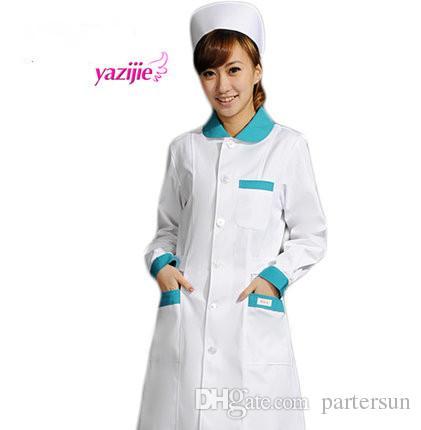 Arzt weißes langärmeliges Kleid Krankenschwester Kurzarm Uniform Experiment unter Drogerie Schönheitssalon Arbeit 052