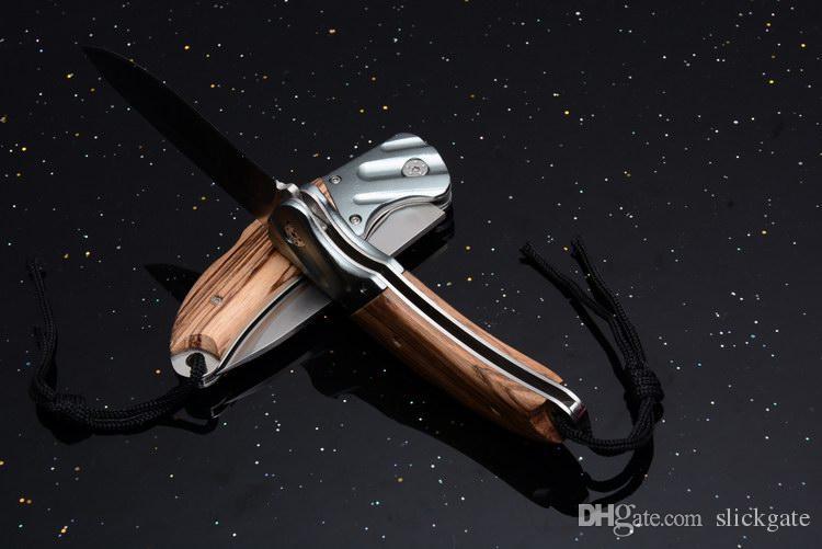 201706 BODA Folding Taktisches Messer 440 Plain Blade Holzgriff EDC Tasche Schlüsselbund Outdoor Rescue Messer Mit Nylon Mantel B225L